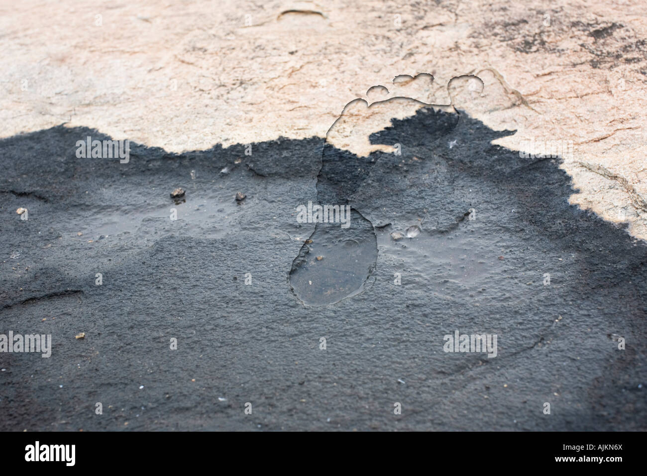 Superimposed footprint into rock to represent carbon footprint - Stock Image