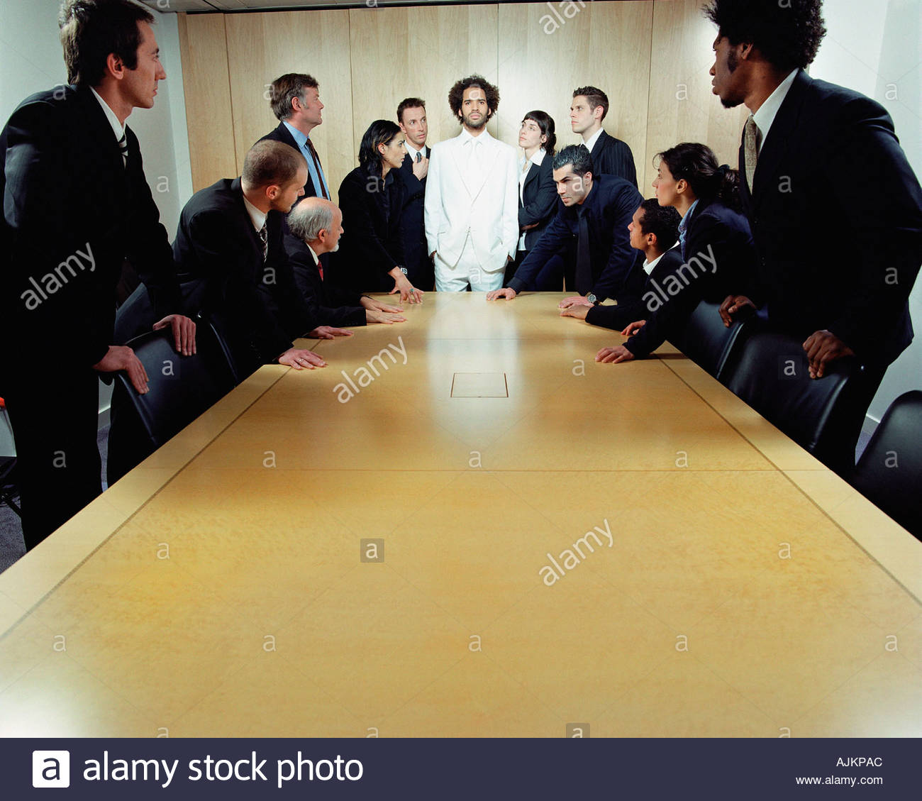 African american businessman in group of caucasians - Stock Image