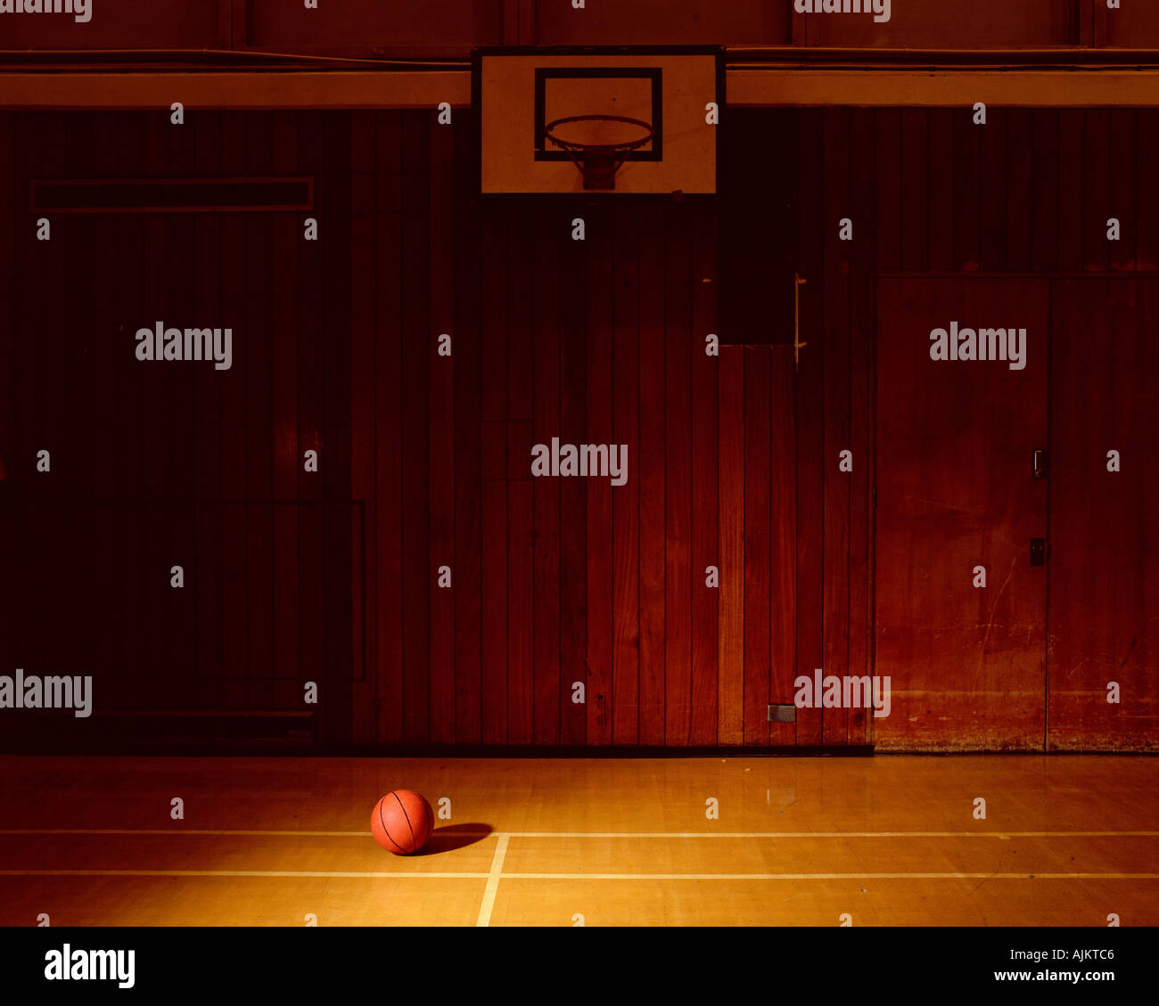 Empty basketball court - Stock Image