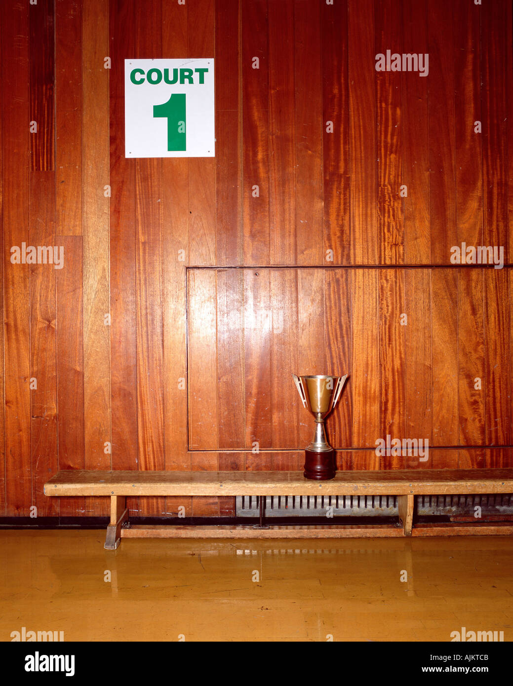 Trophy in sport court - Stock Image