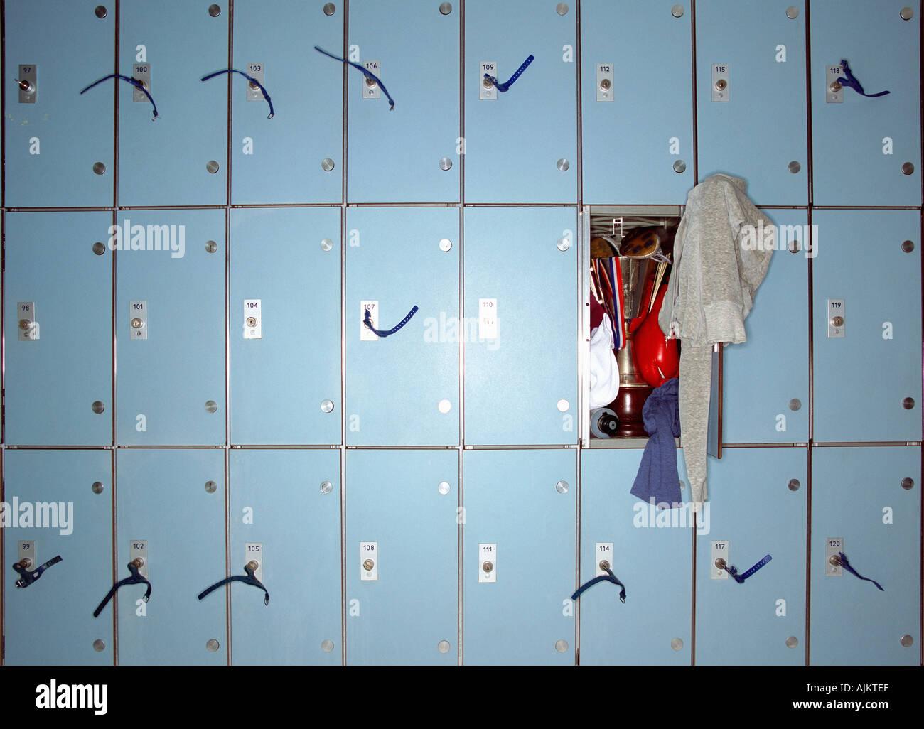 Trophy in messy locker - Stock Image