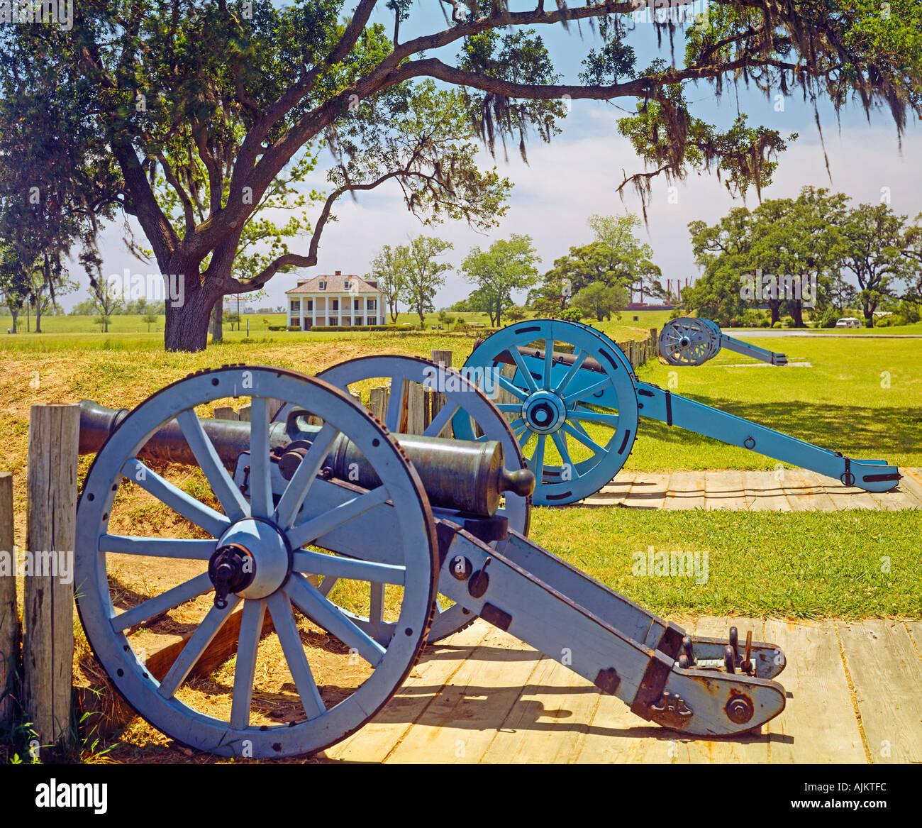 Chalmette Louisiana historical battlefield memorial cannon - Stock Image