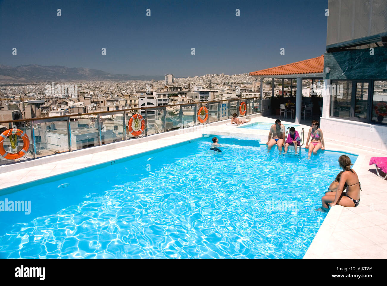 Rooftop Swimming Pool With Views Of The Acropolis And Athens Dorian Stock Photo 14763146 Alamy