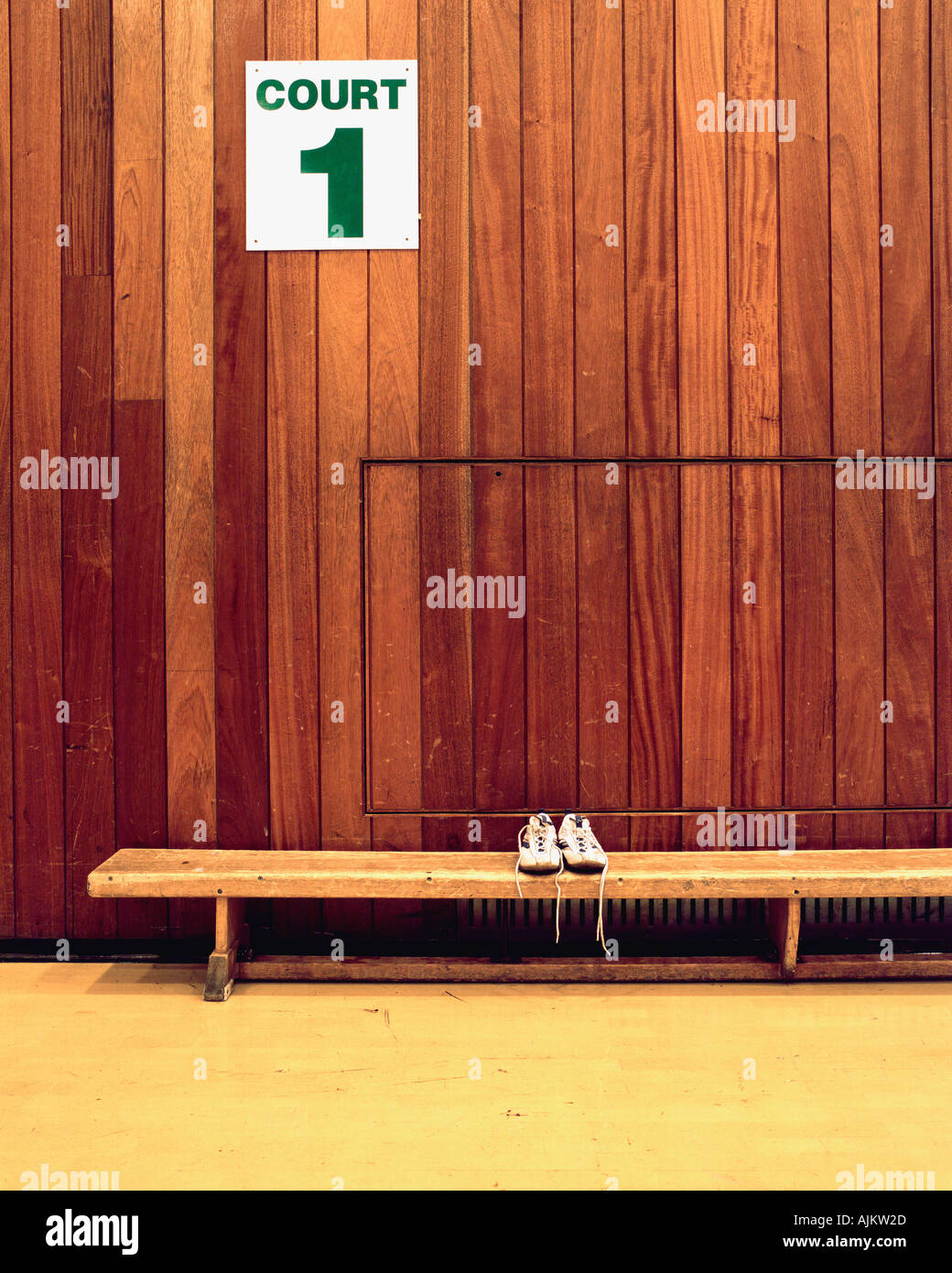 Trainers in sport court - Stock Image