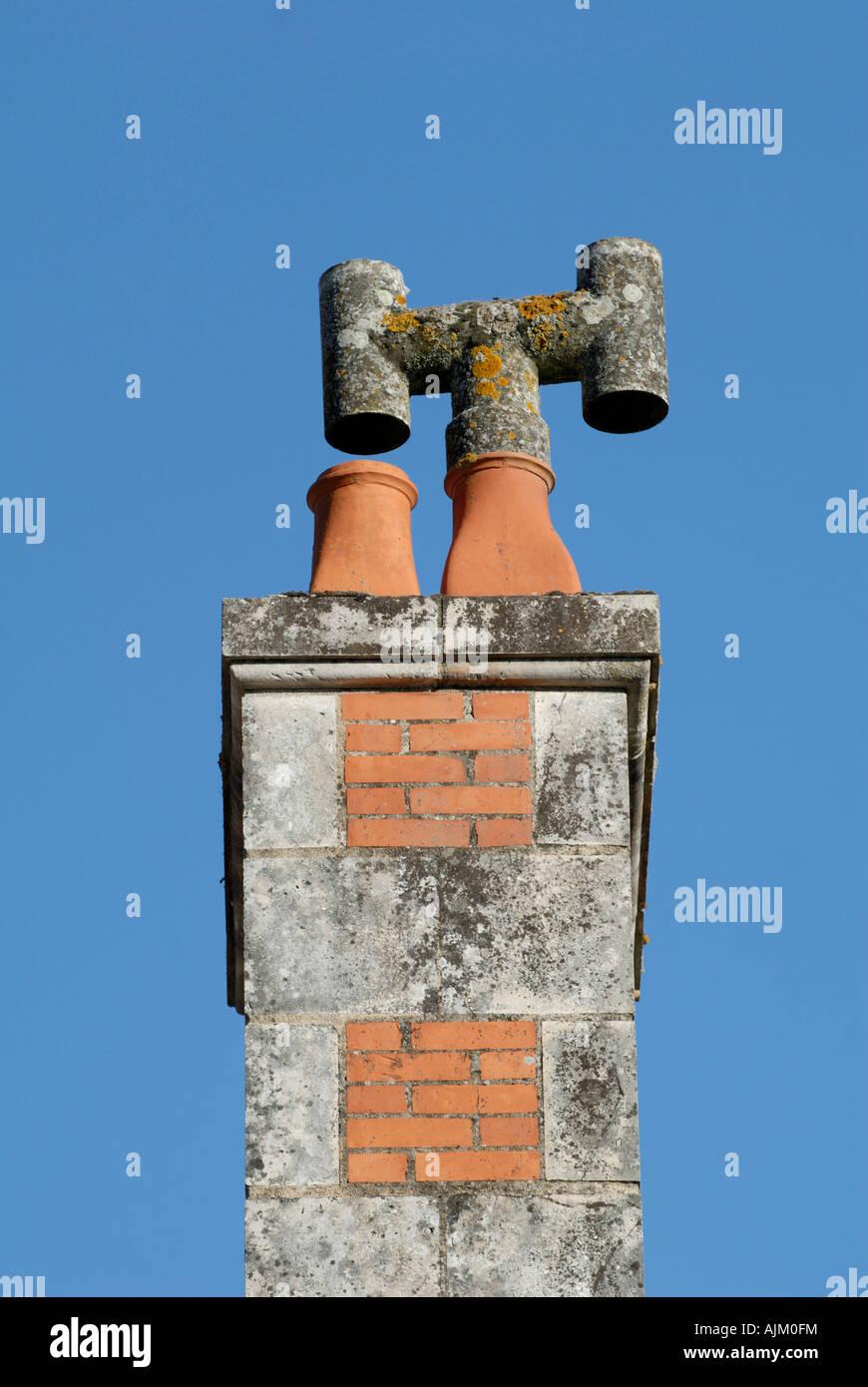 Chimney stack, Preuilly-sur-Claise, Indre-et-Loire, France. - Stock Image