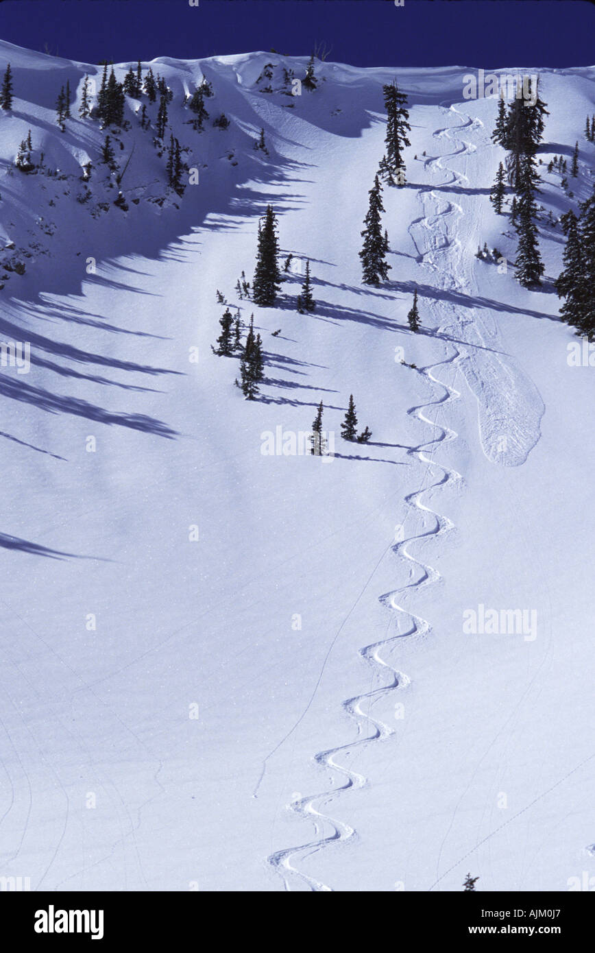 Ski tracks in Big Cottonwood Canyon UT - Stock Image