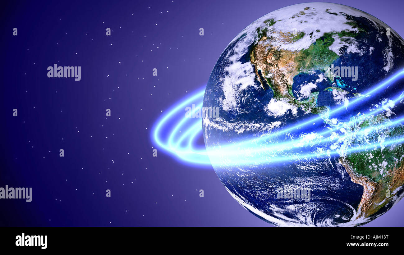 Rings orbiting earth - Stock Image