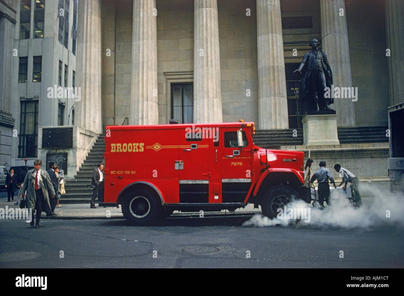 Armored car on Wall Street on Manhattan Island in downtown New York City - Stock Image