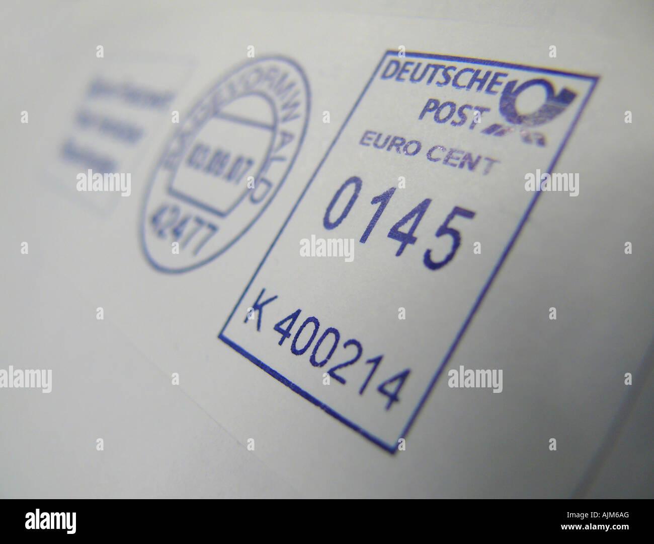 postmark 145 Cent for large letter, Germany - Stock Image
