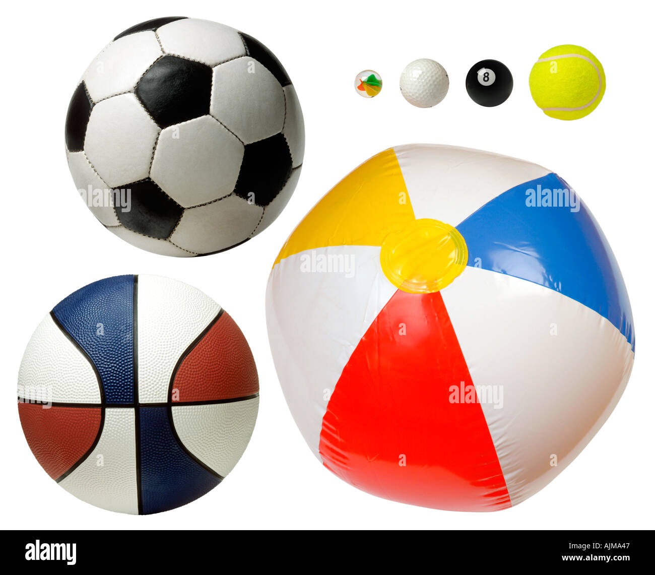 Different sized balls to represent the planets and solar system - Stock Image