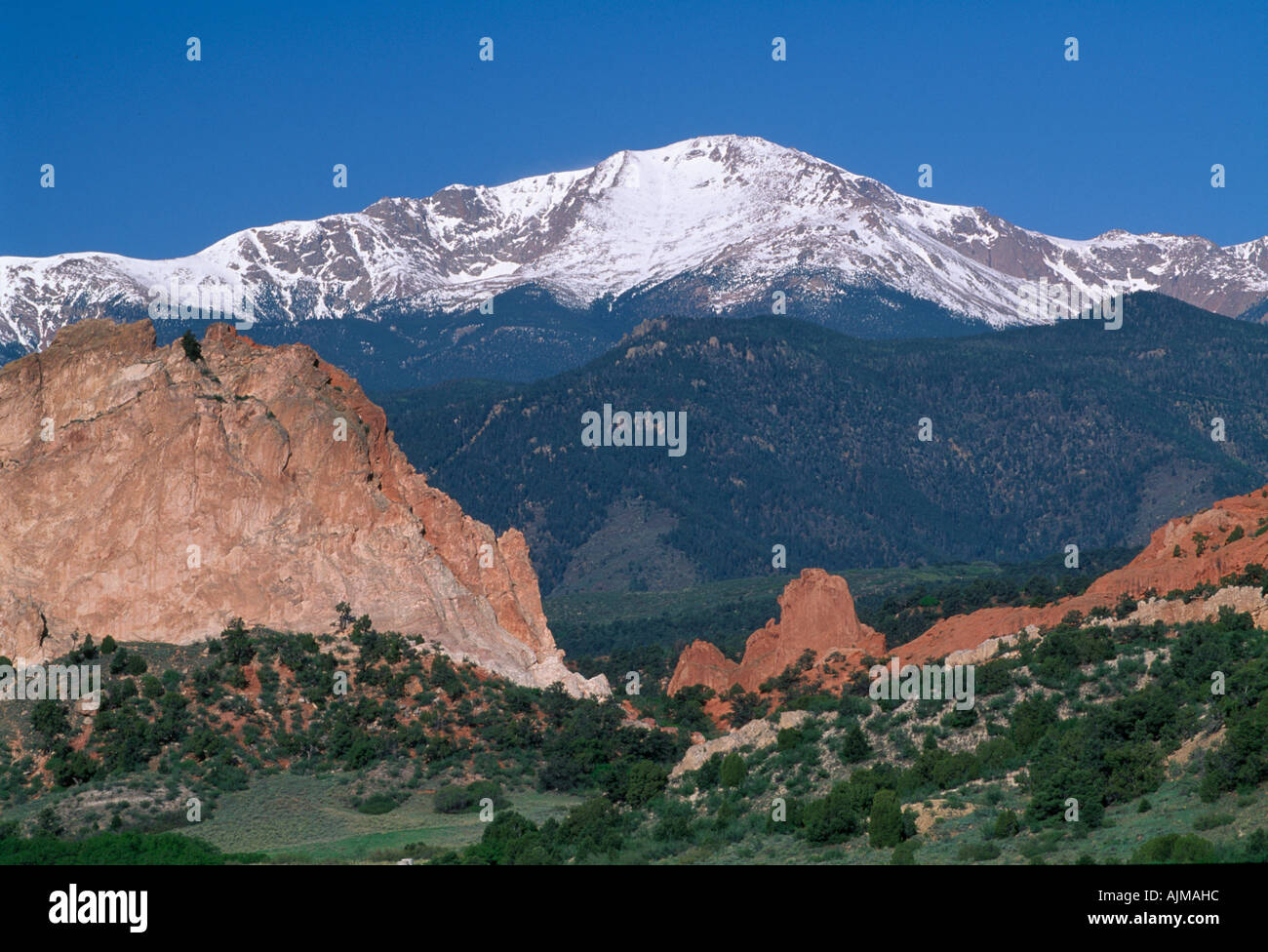 View of snowcapped Pikes Peak from Garden of the Gods near