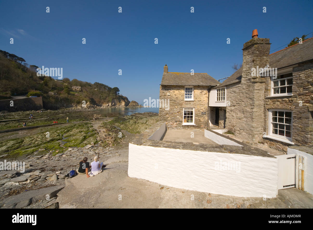 Guest house cottage on beach Lee Bay North Devon Stock Photo