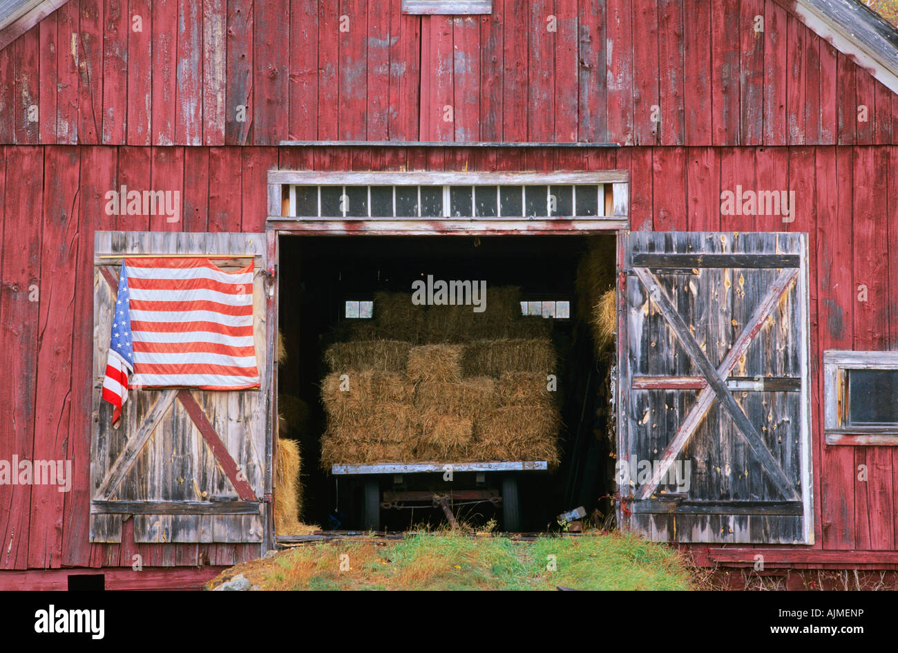 American Flag Hanging From A Barn Door Stock Photo 14769249 Alamy