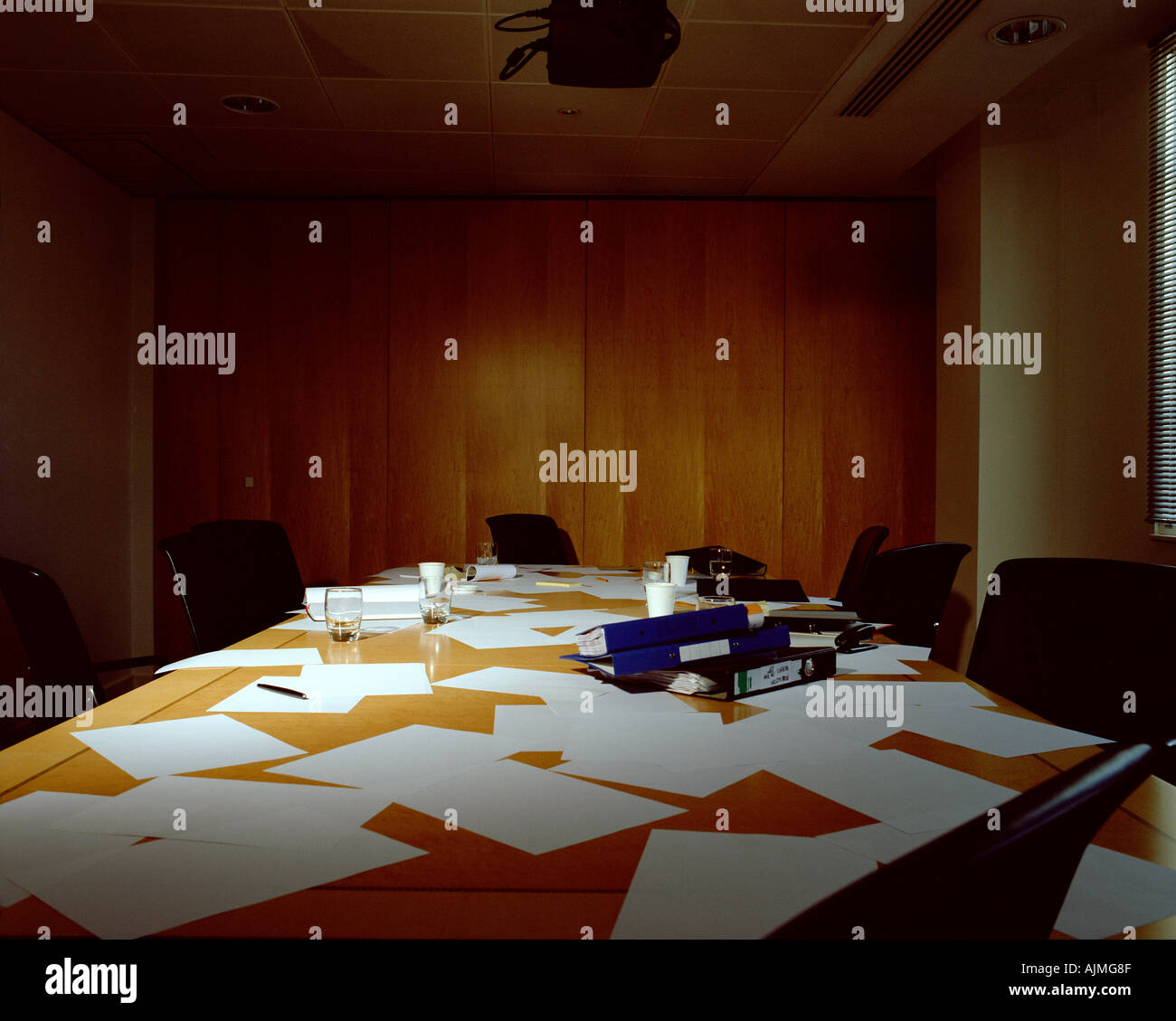 Messy conference room - Stock Image