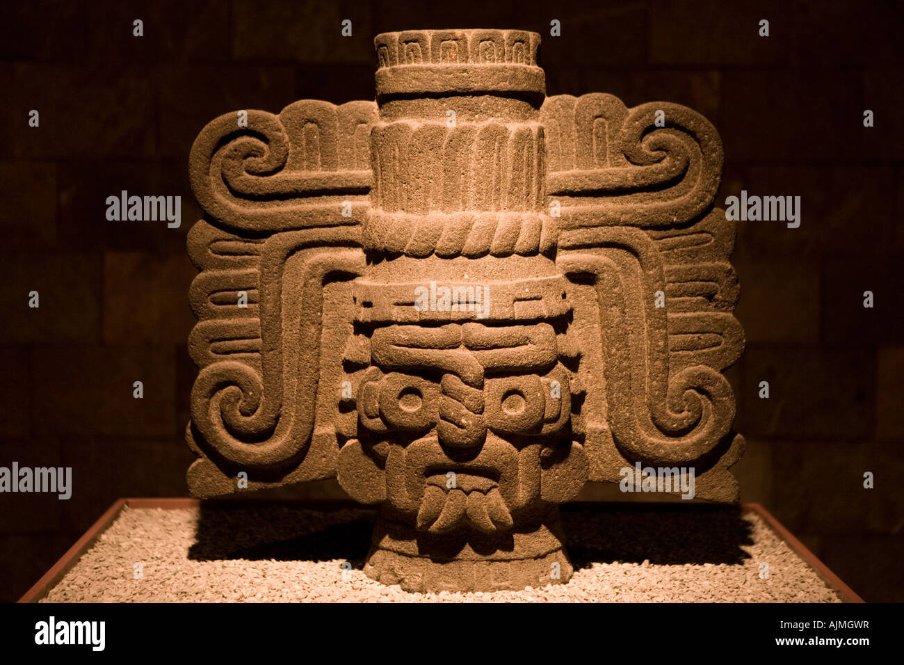 Atzec statues and totems Museum of Anthropology of Mexico City Mexico - Stock Image