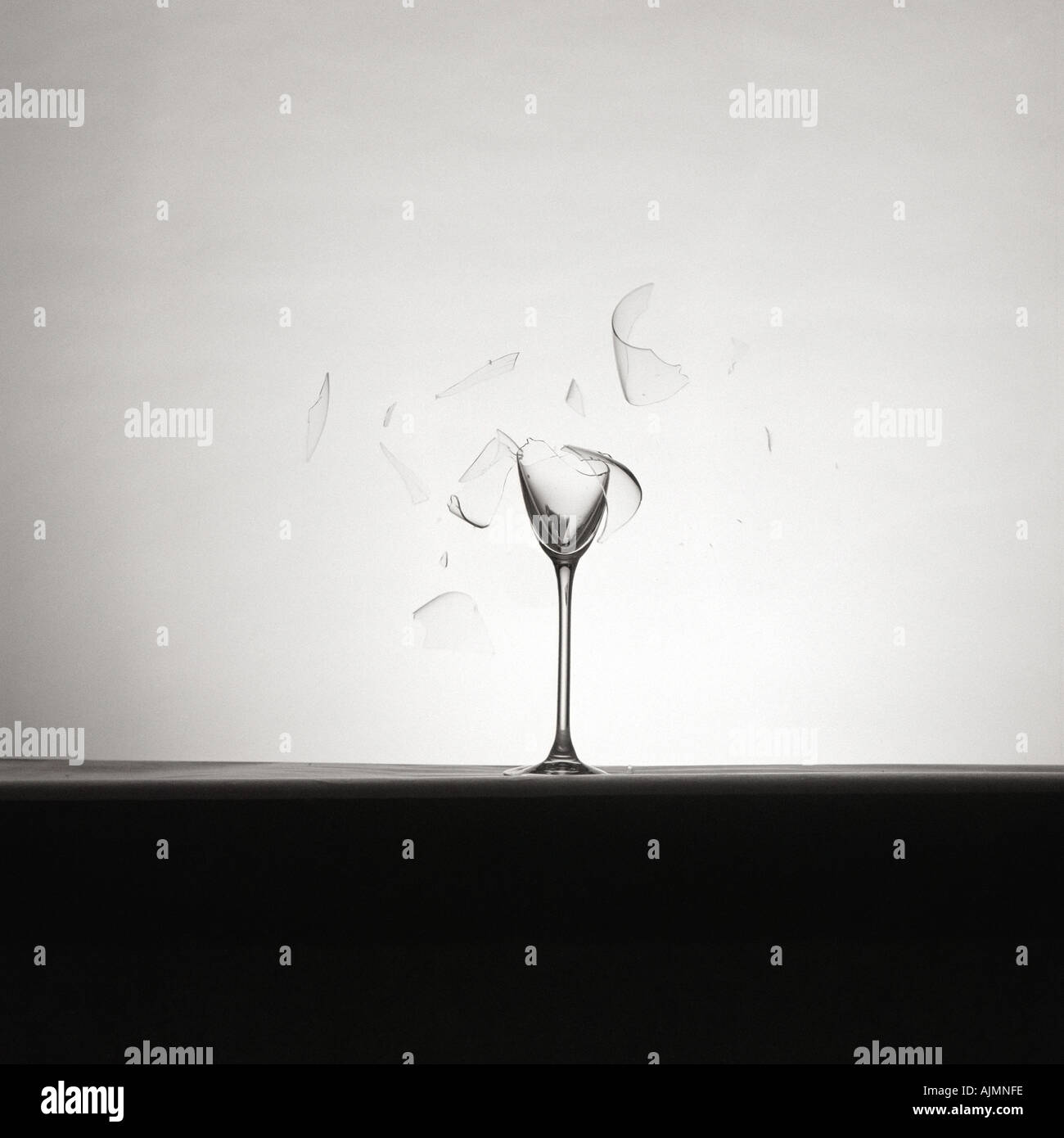 Shattered wine glass - Stock Image