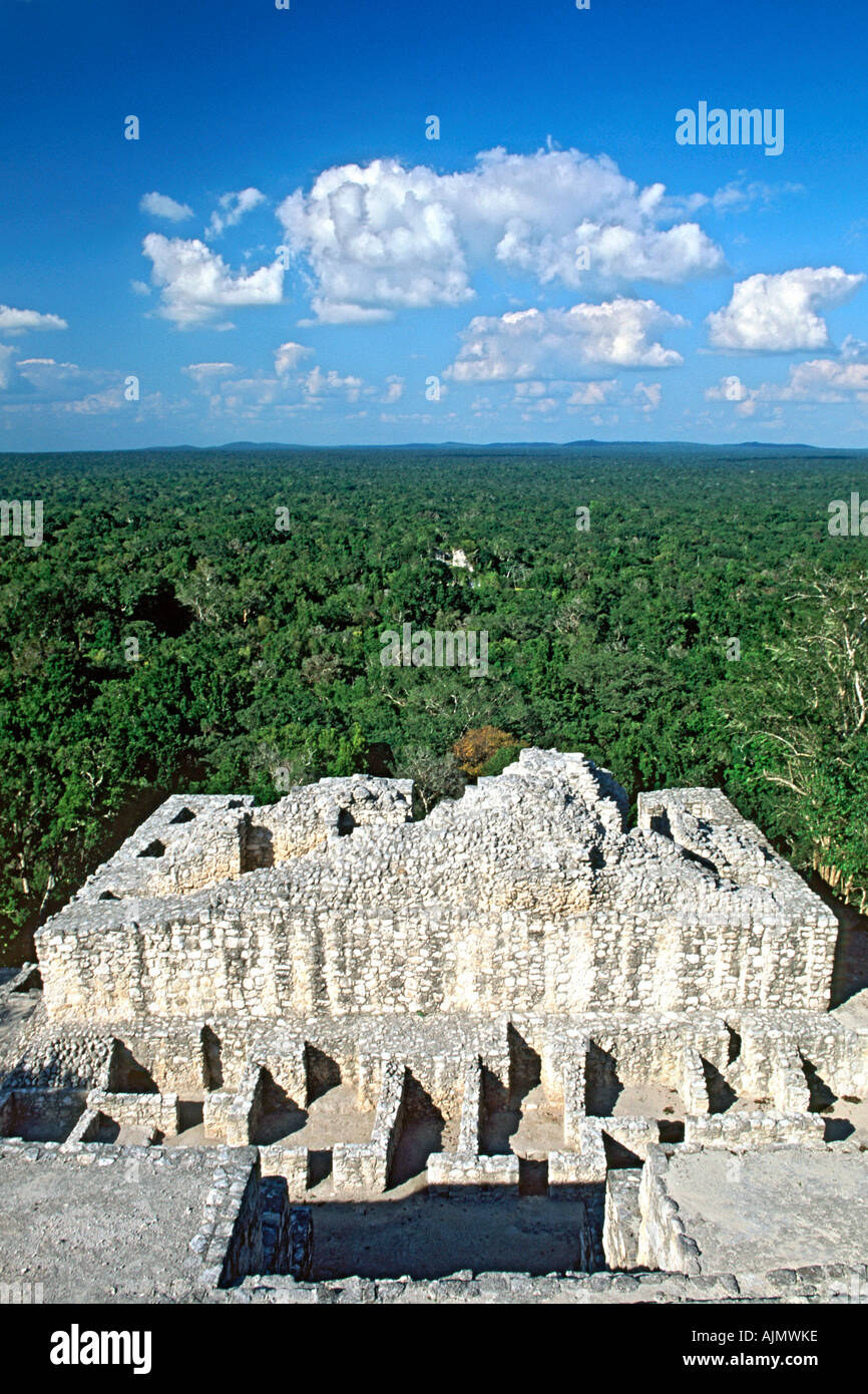 View across the Tierras Bajas rainforest from the top of the Calakmul Mayan ruins in Campeche state in southern Mexico. - Stock Image