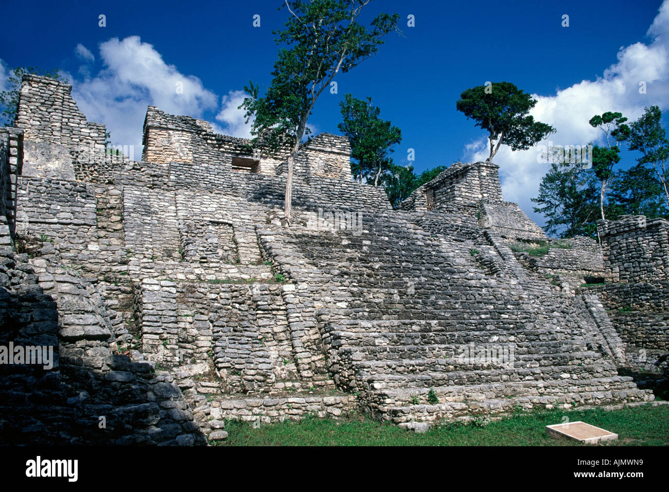 The Dzibanche Mayan ruins near Chetumal in Quintana Roo state in Mexico. - Stock Image