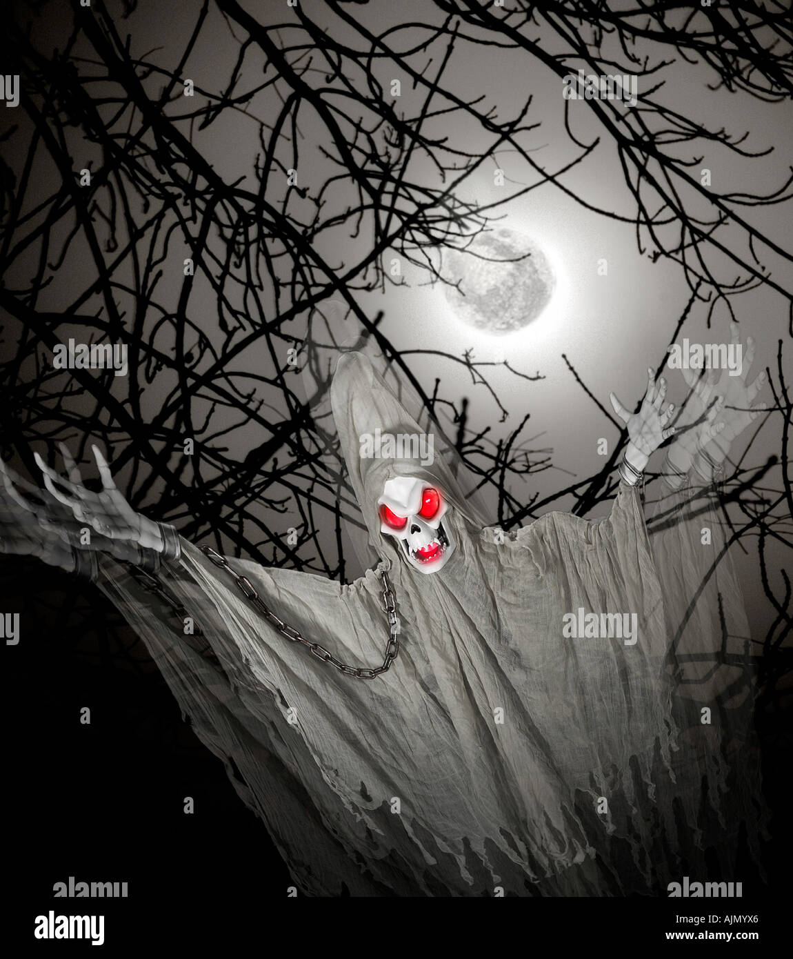 Ghost Ghoul Demon Haunting The Night Of Halloween With The Full Moon - Stock Image