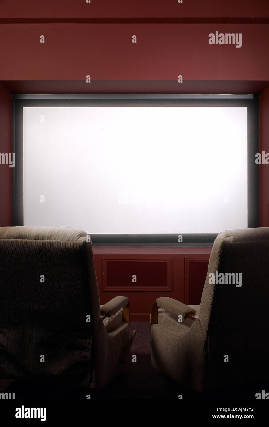 Big Screen TV In Home Theater - Stock Image