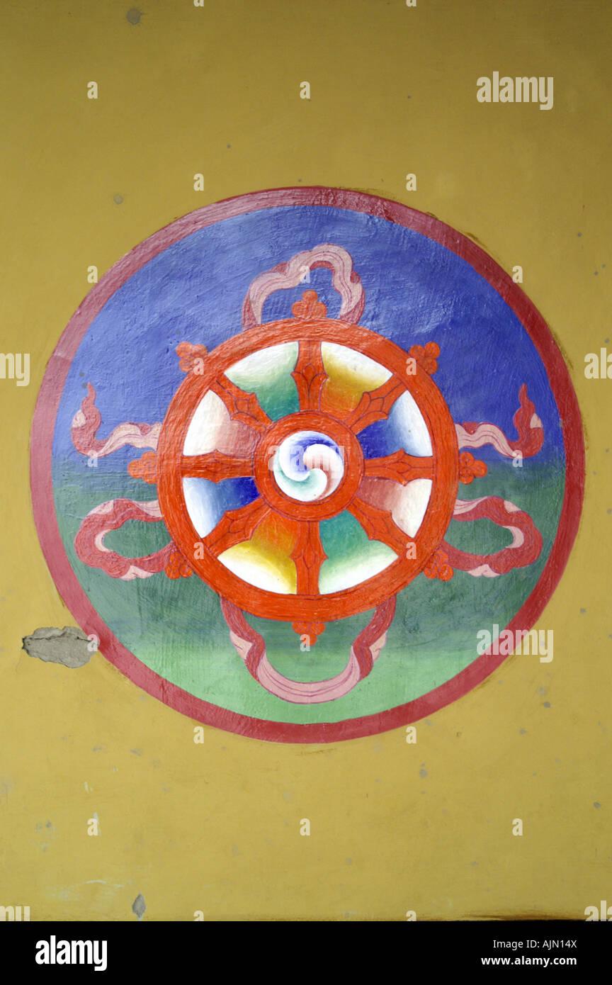 Eighth auspicious symbols mural painting in Stok monastery Ladakh, India - Stock Image