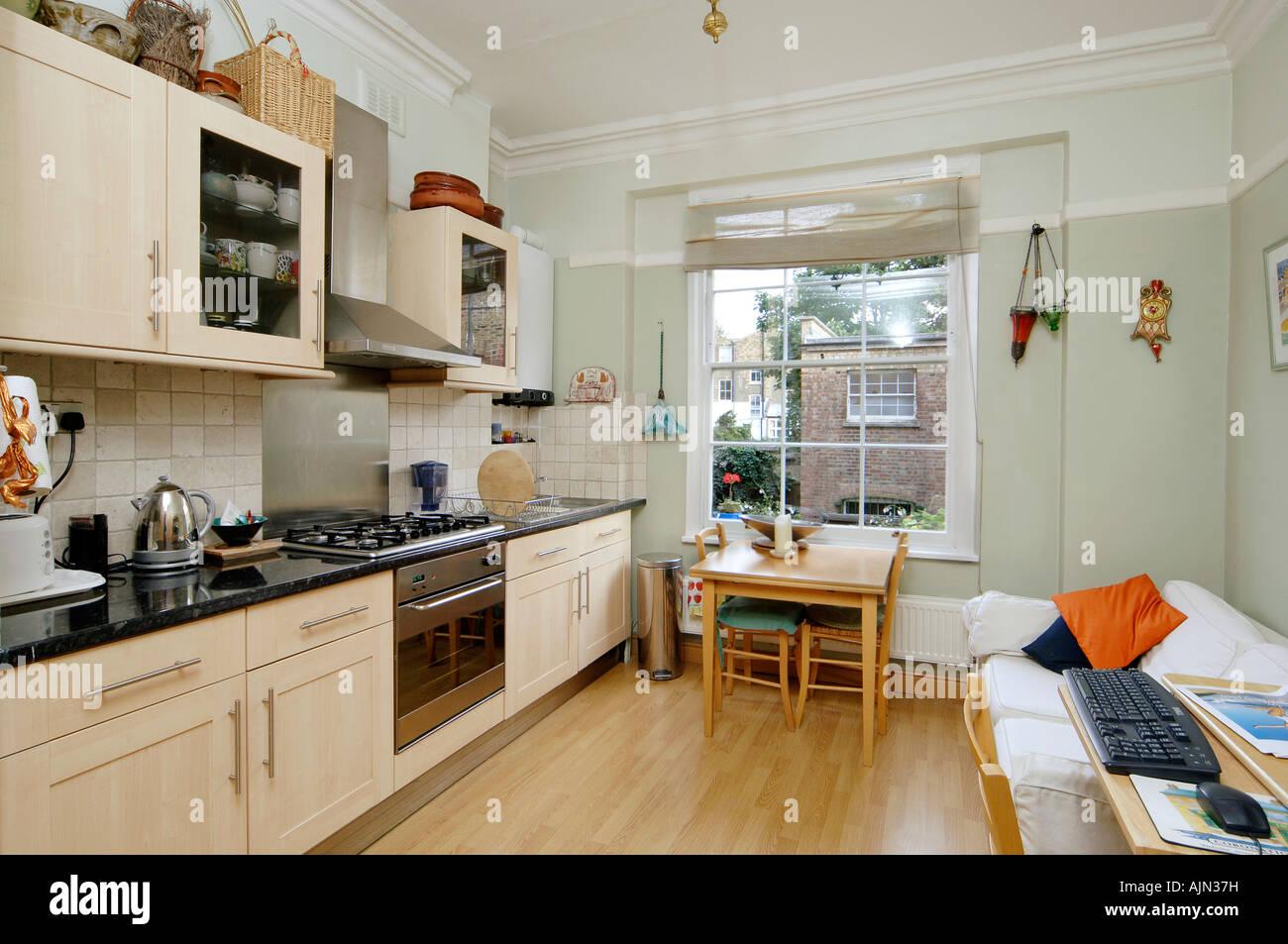 Old Victorian Style Interior Kitchen Sunny Day Islington London