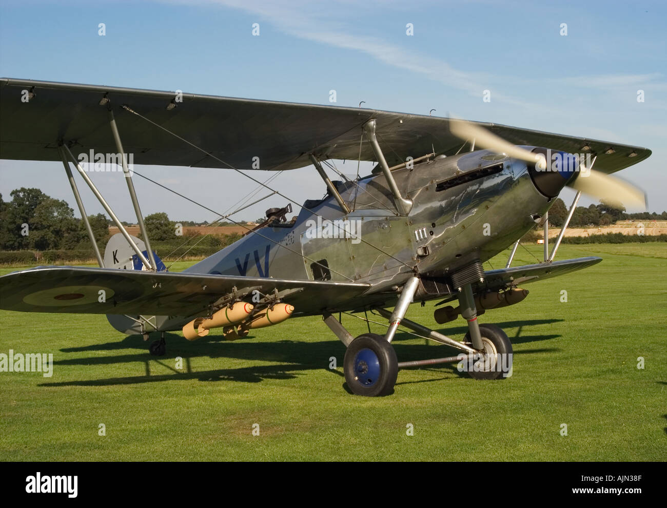 Hawker Hind Bi Plane Running up prior to take off Shuttleworth Collection Old Warden - Stock Image