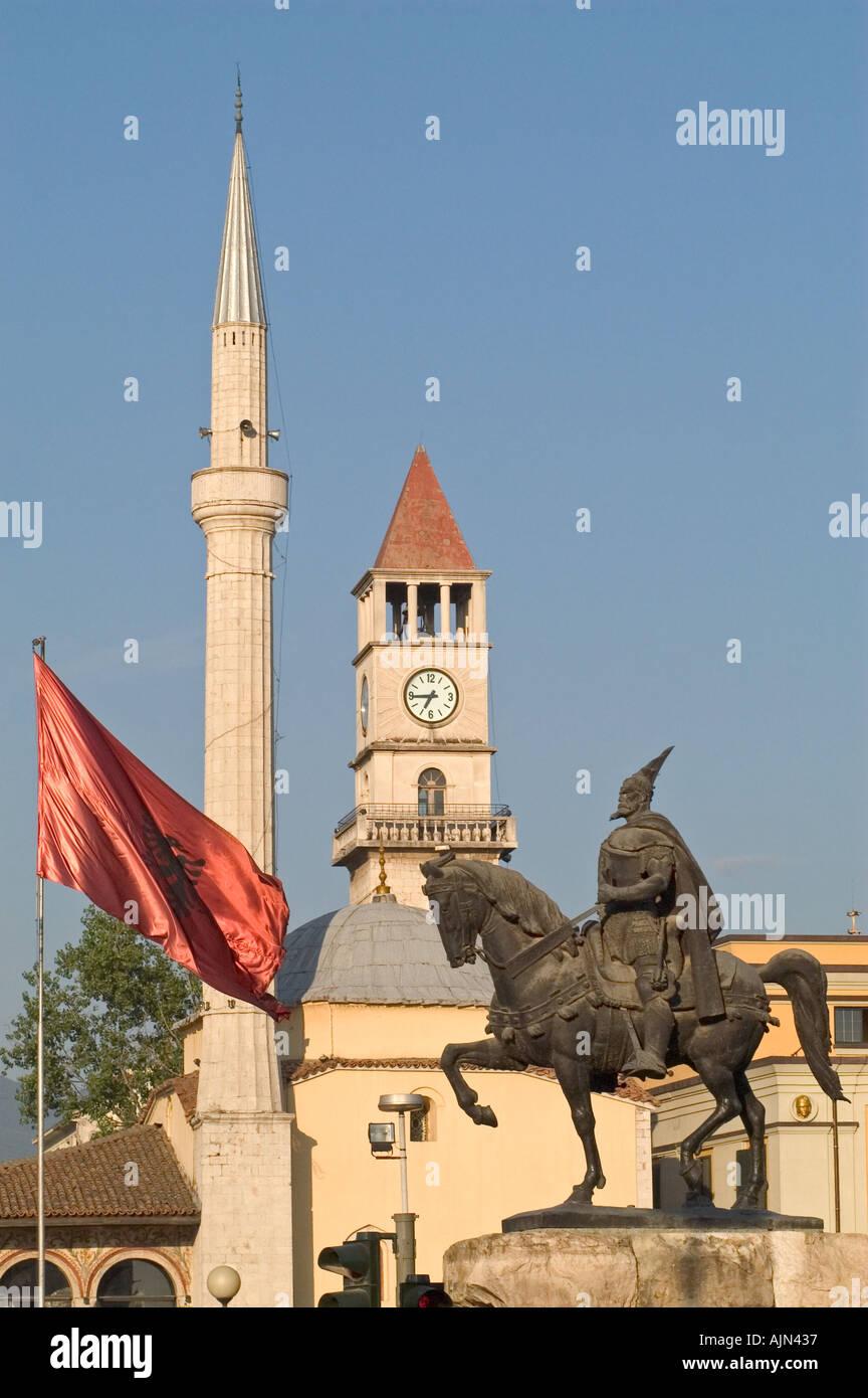 Skanderbeg Statue, Ethem Bay mosque, Clock Tower and Albanian flag, Tirana Albania - Stock Image