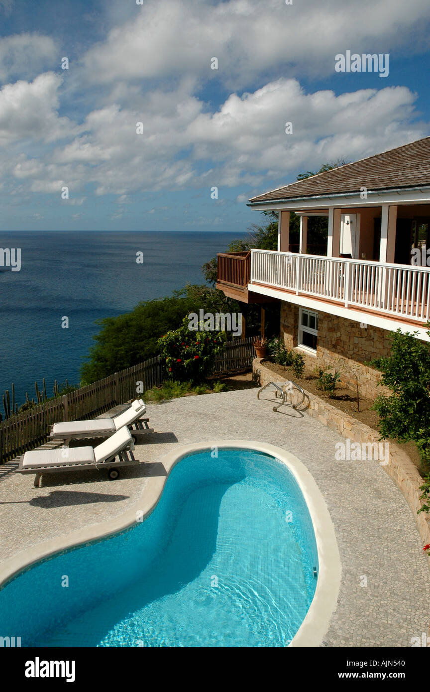 St Barts  Saint Barth French West Indies Villa with pool overlooking the Caribbean - Stock Image