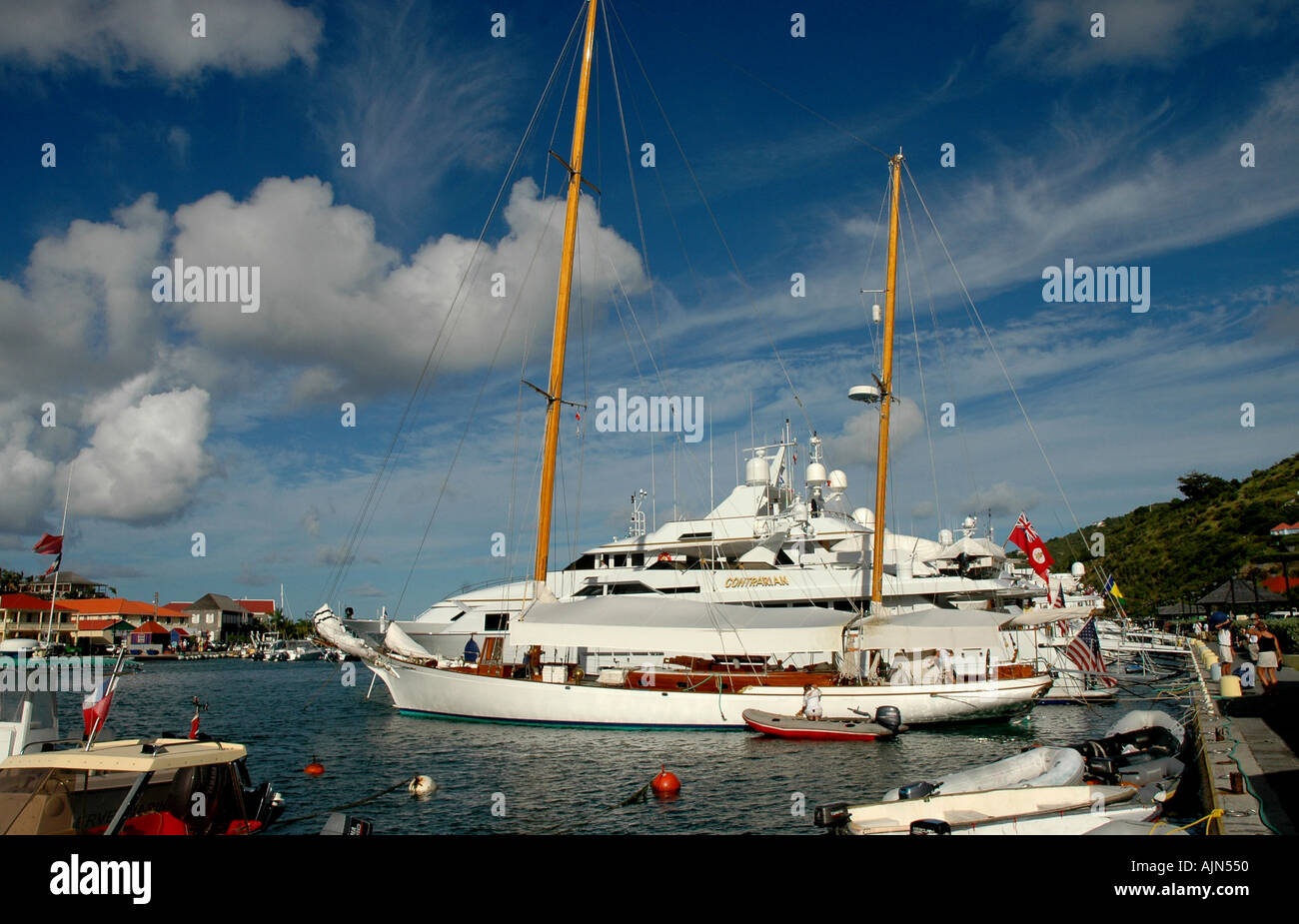 St Barths French West Indies Gustavia harbor luxury yachts - Stock Image