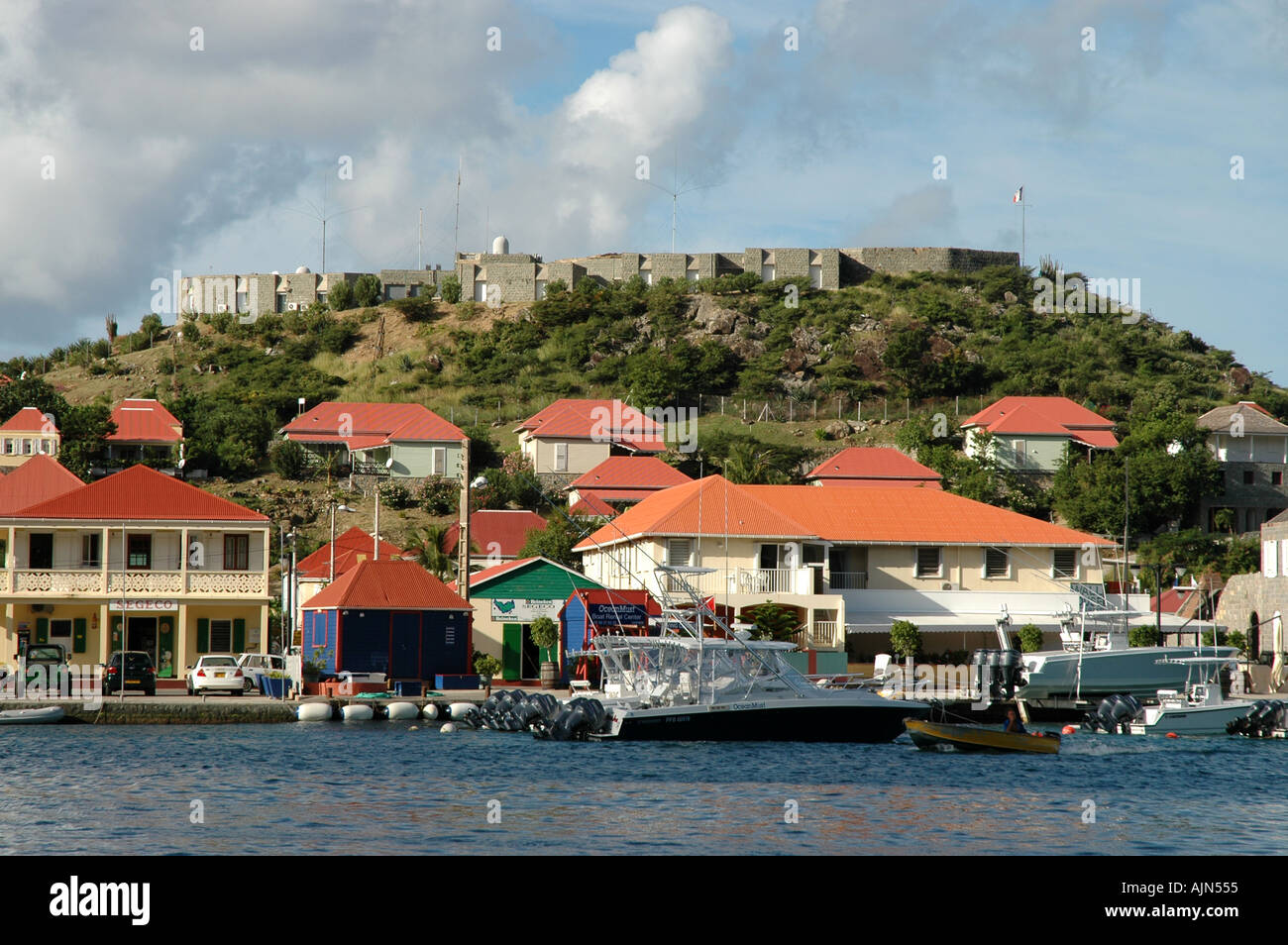 St Barths French West Indies Fort Gustavia overlooking harbor - Stock Image