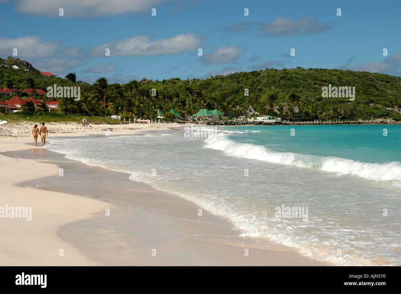 St Barths French West Indies St Jean Beach near airport - Stock Image