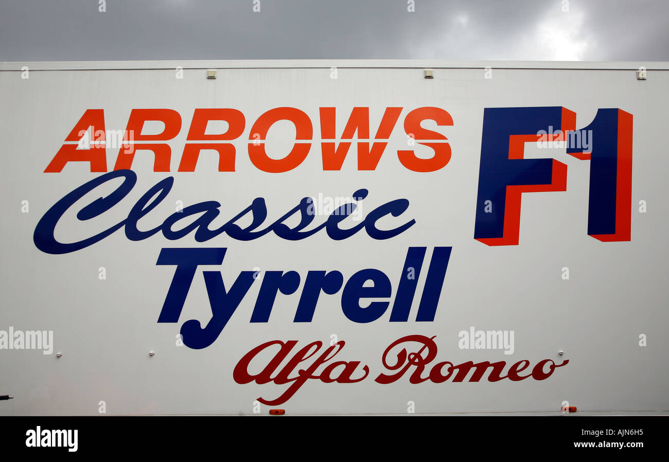 Motor Racing Logos Showing Arrows Tyrell And Alfa Romeo F1 Classic Stock Photo Alamy