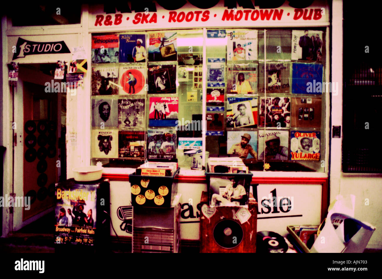 Soul RnB hip hop dance Motown independent speciality record shop Brixton Stock Photo