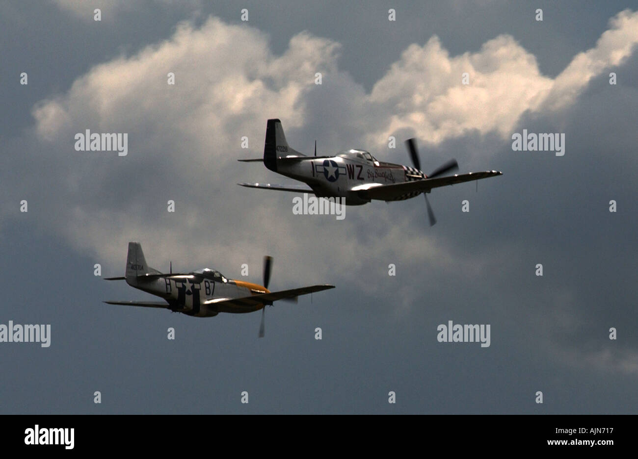 WW2 USAF MUSTANGS FLYING OVER CAMBS UK 2004 PIC BY JOHN ROBERTSON Stock Photo