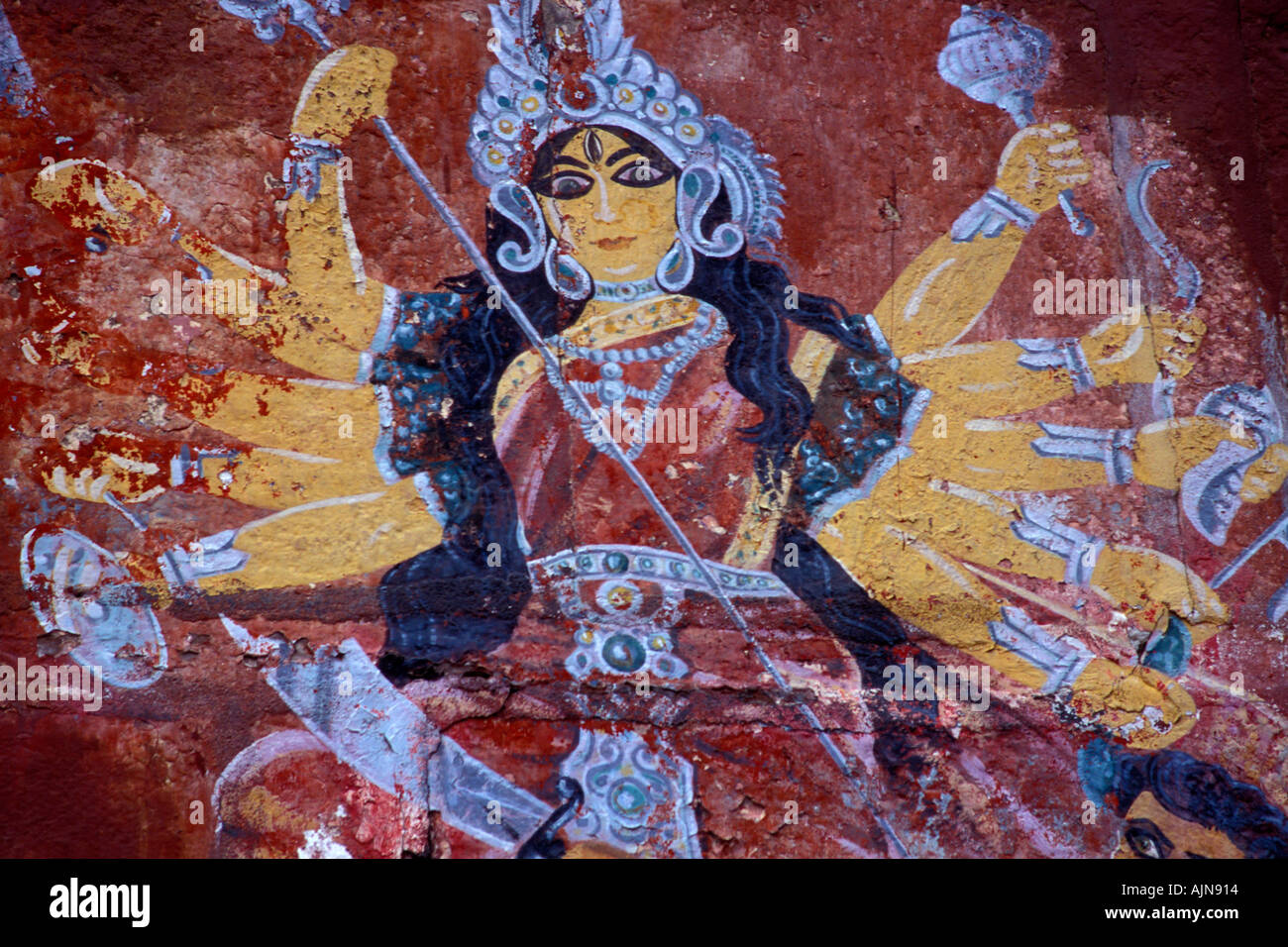 Shiva Fresco on the Durga Temple Wall Varanasi - Stock Image