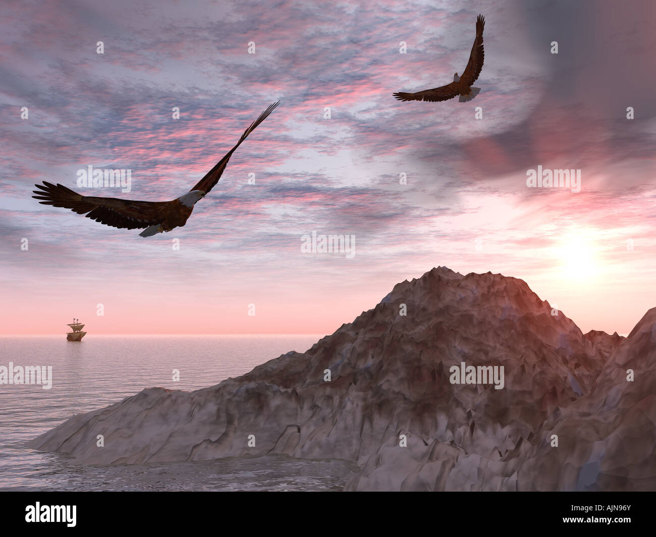 Two eagles on a background of rocks and the seas and a sailing vessel in a distance very dramatic sky - Stock Image