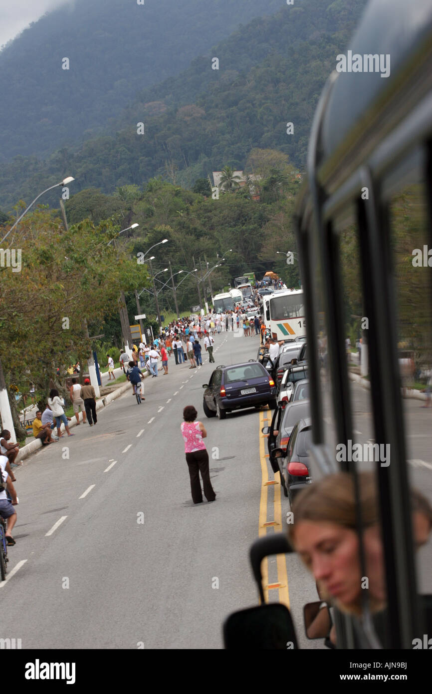 Roadblock picket in a road in Brazil leading to Rio de Janeiro done by the people of Pereque demanding more security. - Stock Image