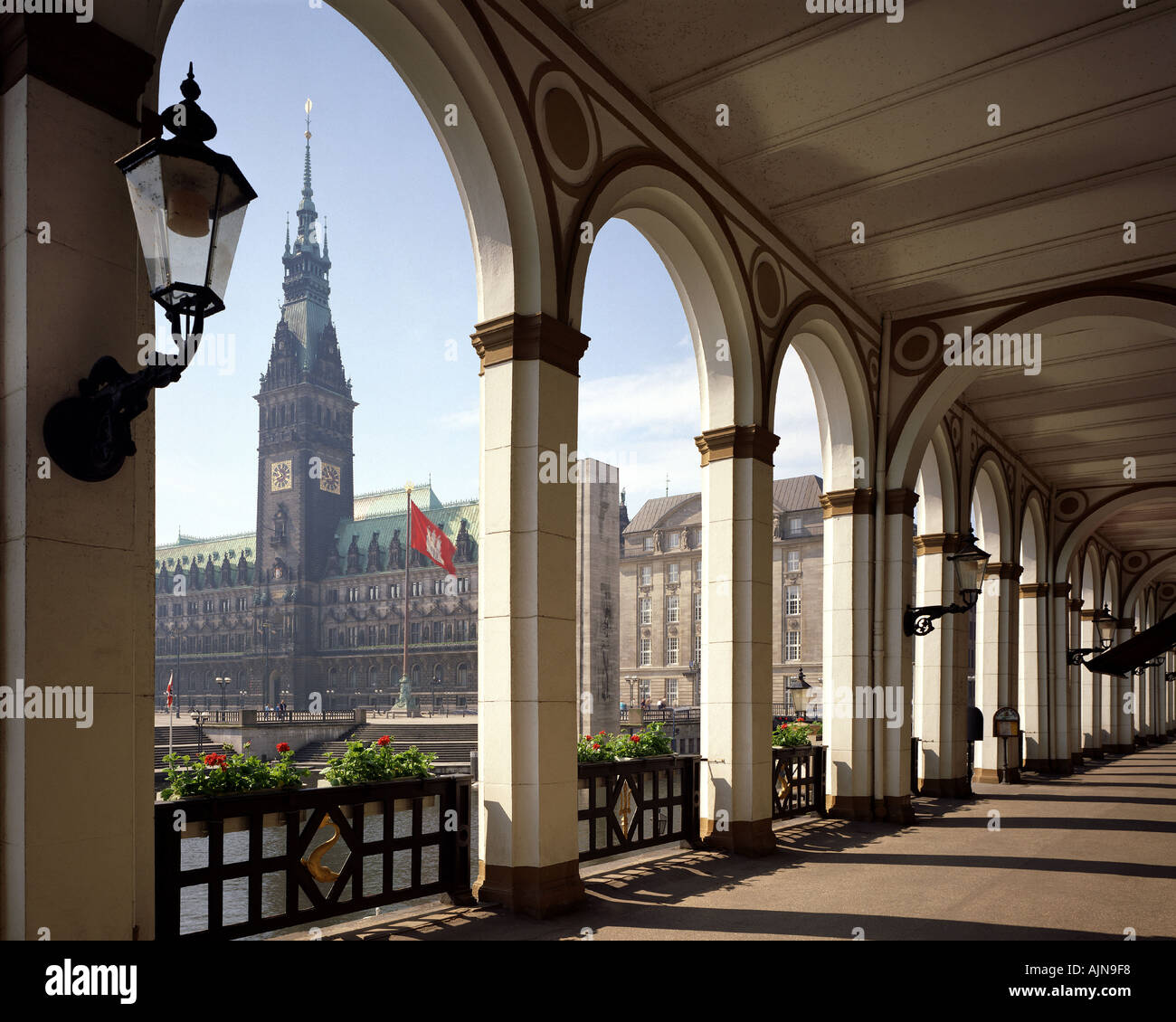 DE - HAMBURG: The Alsterarkaden with view towards City Hall Stock Photo