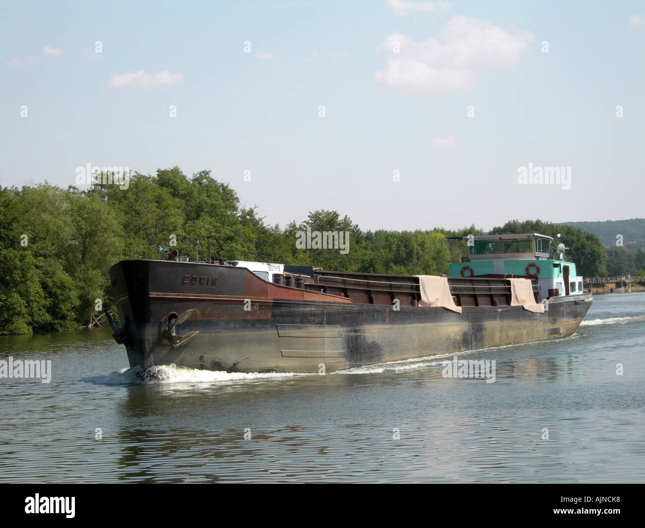 river freight boat ship transport peniche france - Stock Image