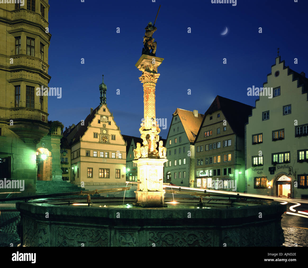 DE - BAVARIA: The Market Square at Rothenburg ob der Tauber - Stock Image