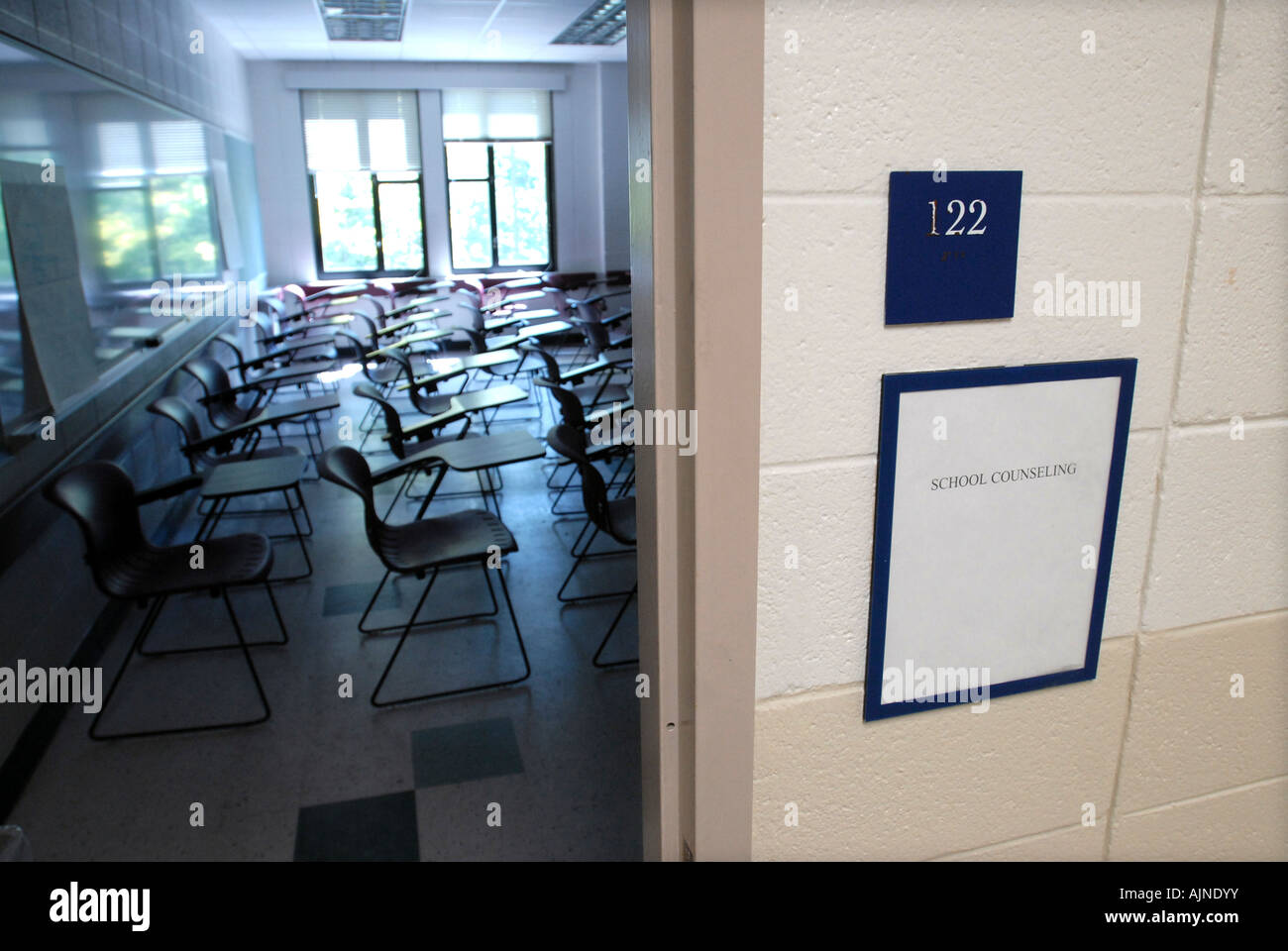 School classroom with sign that reads 'School Counseling' at a Connecticut College, USA - Stock Image