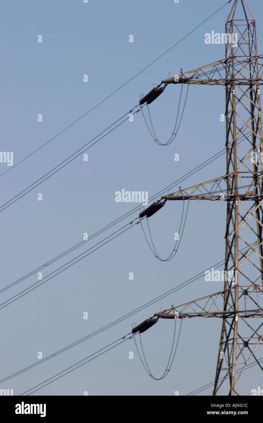 Electricity high voltage pylon deriving power across the country to ...