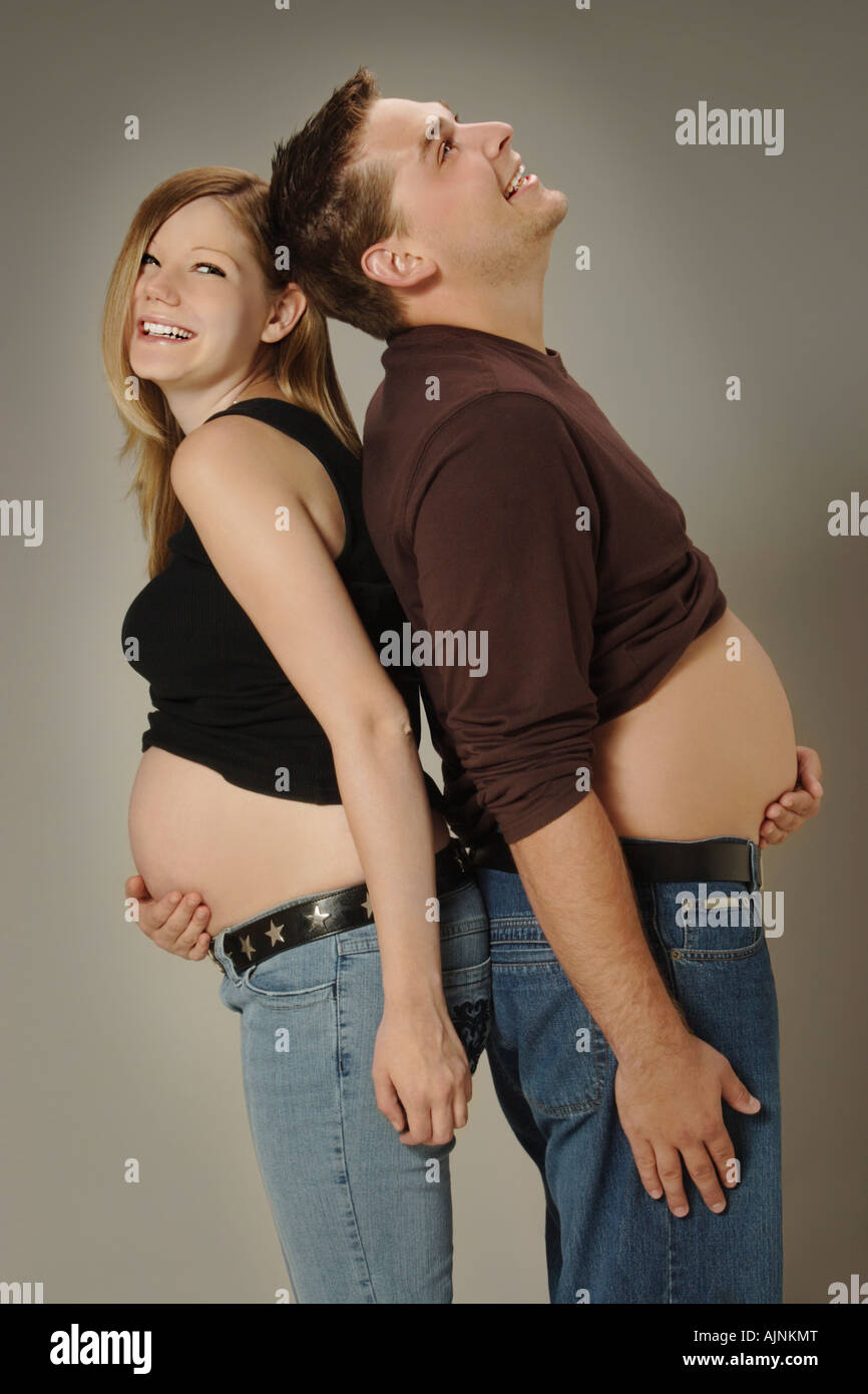 A couple with growing bellies - Stock Image