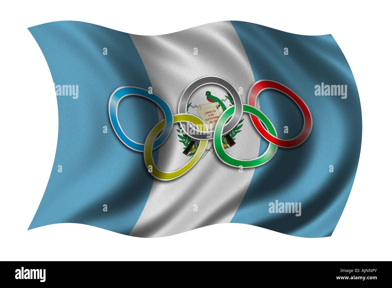 Flag Of Guatemala With Olympic Symbol Stock Photo 14781026 Alamy