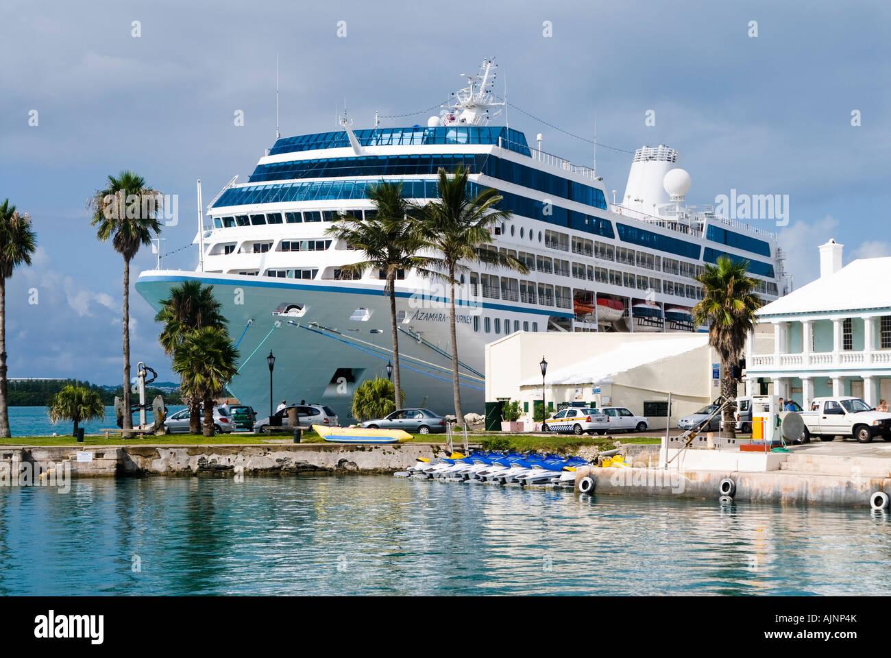 Celebrity cruise ship docked in St George Bermuda - Stock Image