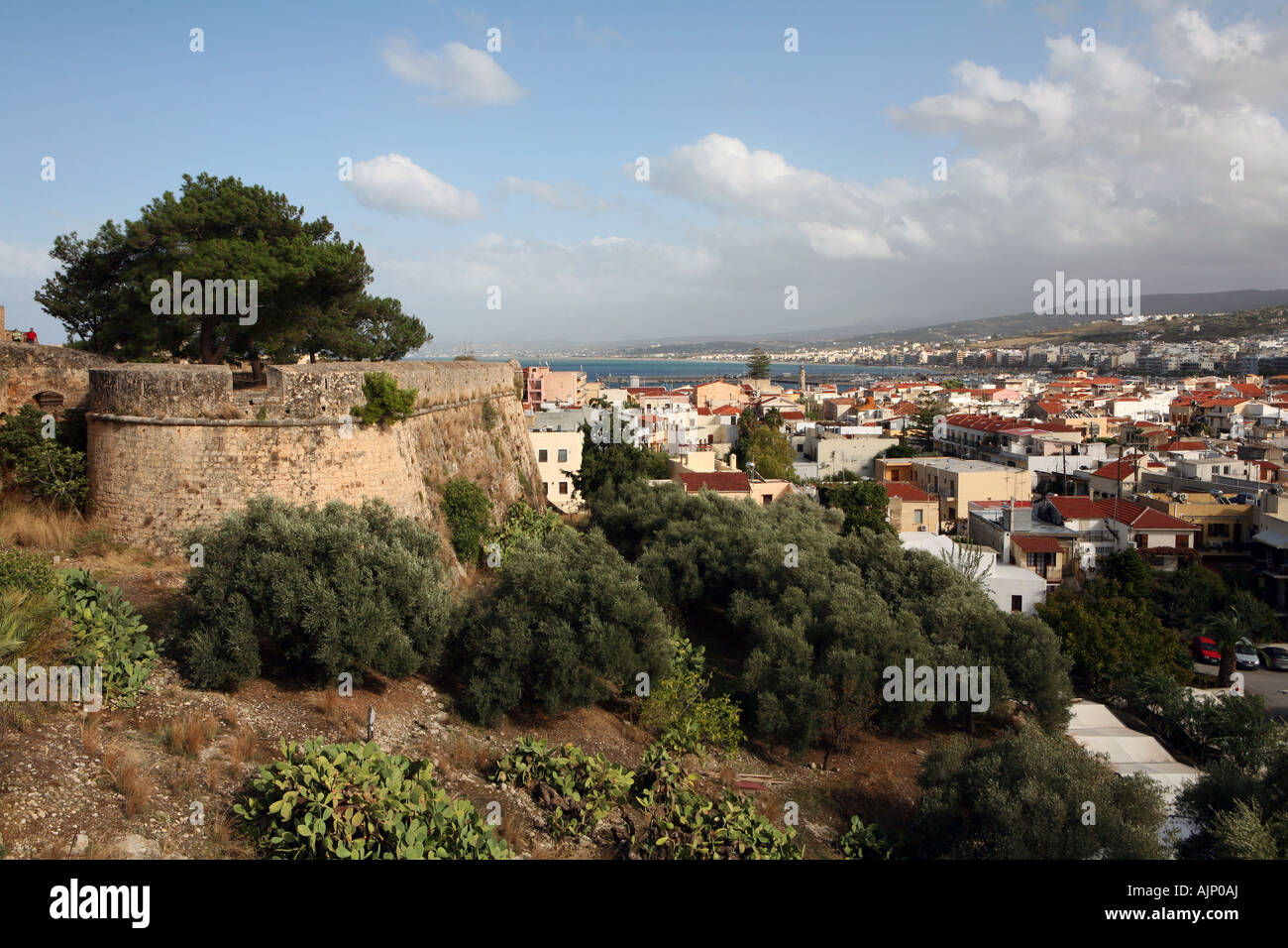 View over the Cretan city of Rethymnon from the Fortezza castle Stock Photo