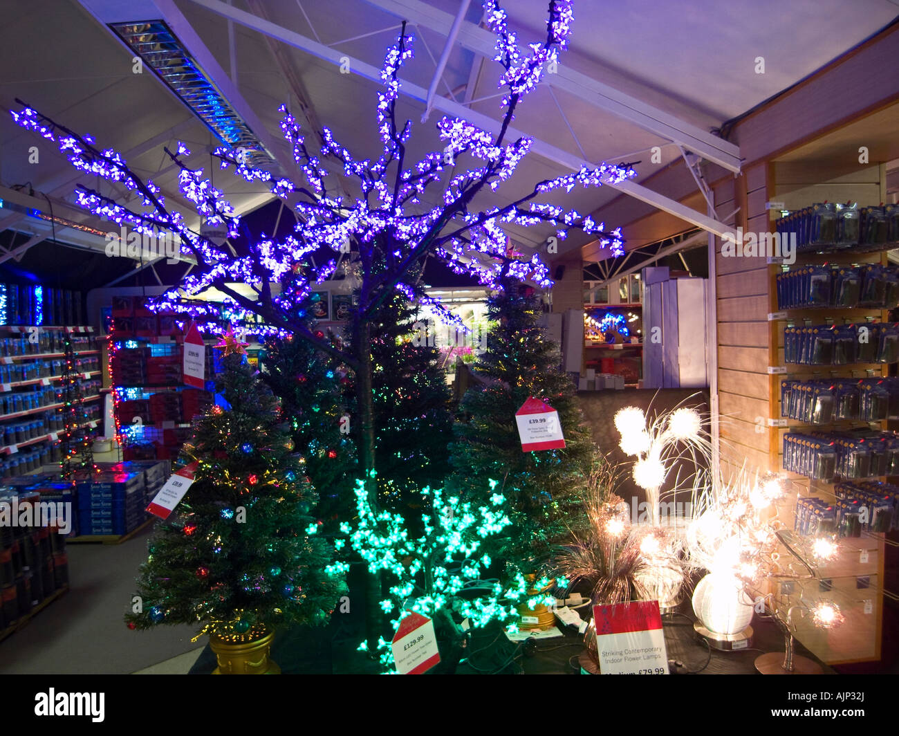Christmas Decorations On Display In Uk Garden Centre Stock Photo Alamy