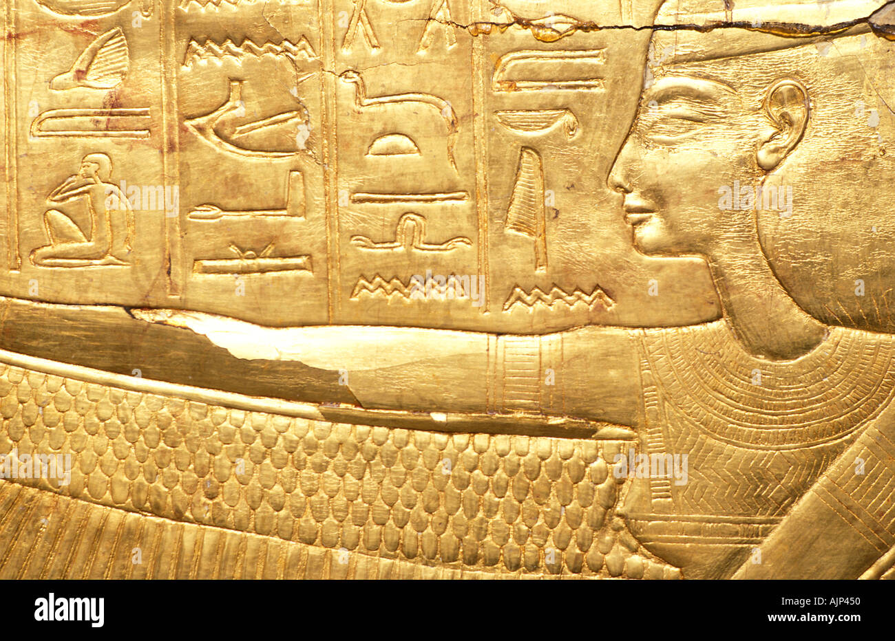 Detail of gilded sarcophagus of Tutankhamun ornately carved Discovered in 1922 by Howard Carter Egyptian Museum Cairo Egypt - Stock Image