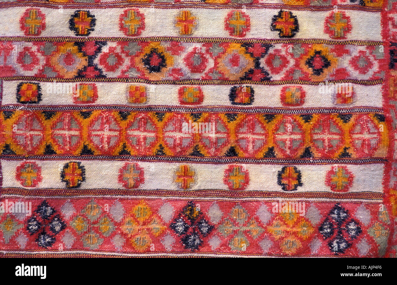 Woven woollen textile with Geometric motifs from the Kinnaur mountain area Himachal Pradesh Indian Himalayas India Stock Photo